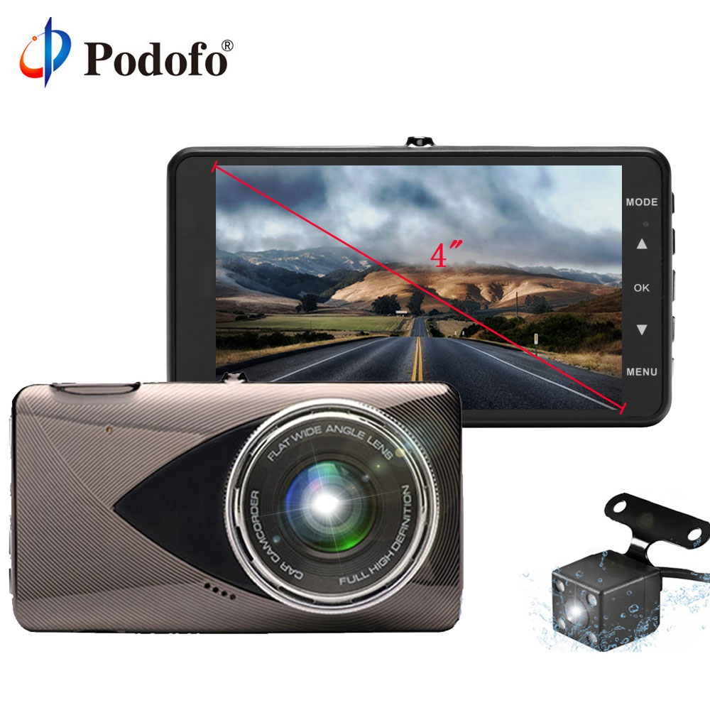 Podofo 4 Car DVR Camera Full HD 1080P Dashcam Dual Lens Registrator Video Recorder G-sensor Night Vision Backup Rearview Camera