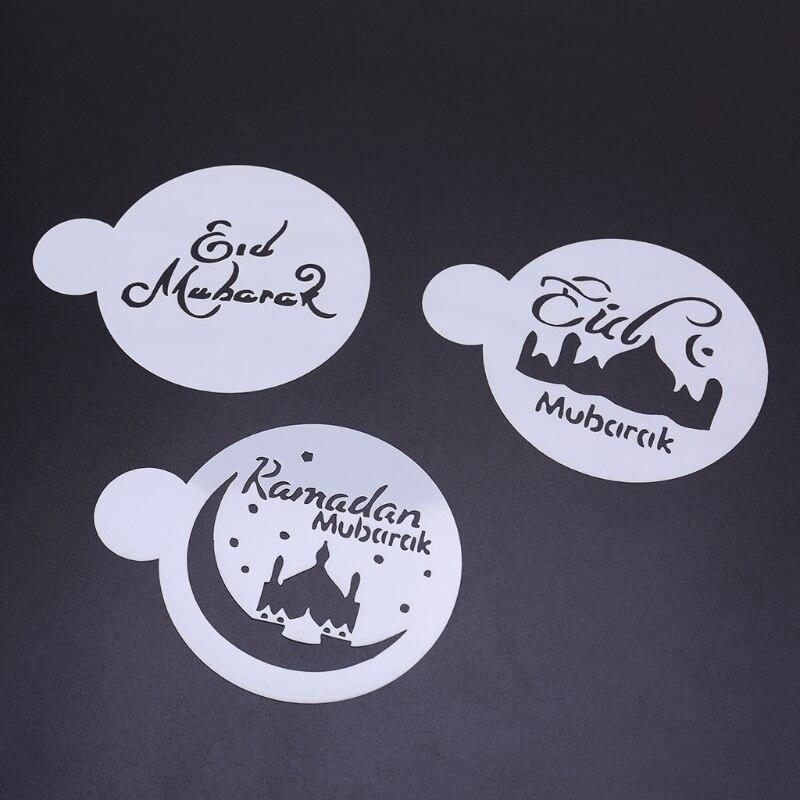 3pcs PET Mosque Eid Mubarak Ramadan Design Coffee Stencils Cake Decoration Tool