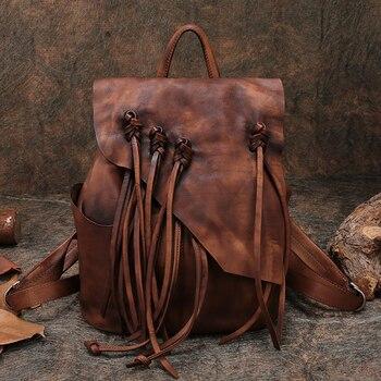 Mochila de viaje de mujer hecha a mano de cuero genuino señora bolsos de hombro 2019 último cordón al aire libre Back Pack Feamle mochilas escolares