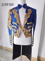 Navy Blue Magic Royal Tuxedo Male Singer Formal Dress Marriage Performance Laciness Men Fashion Long Style