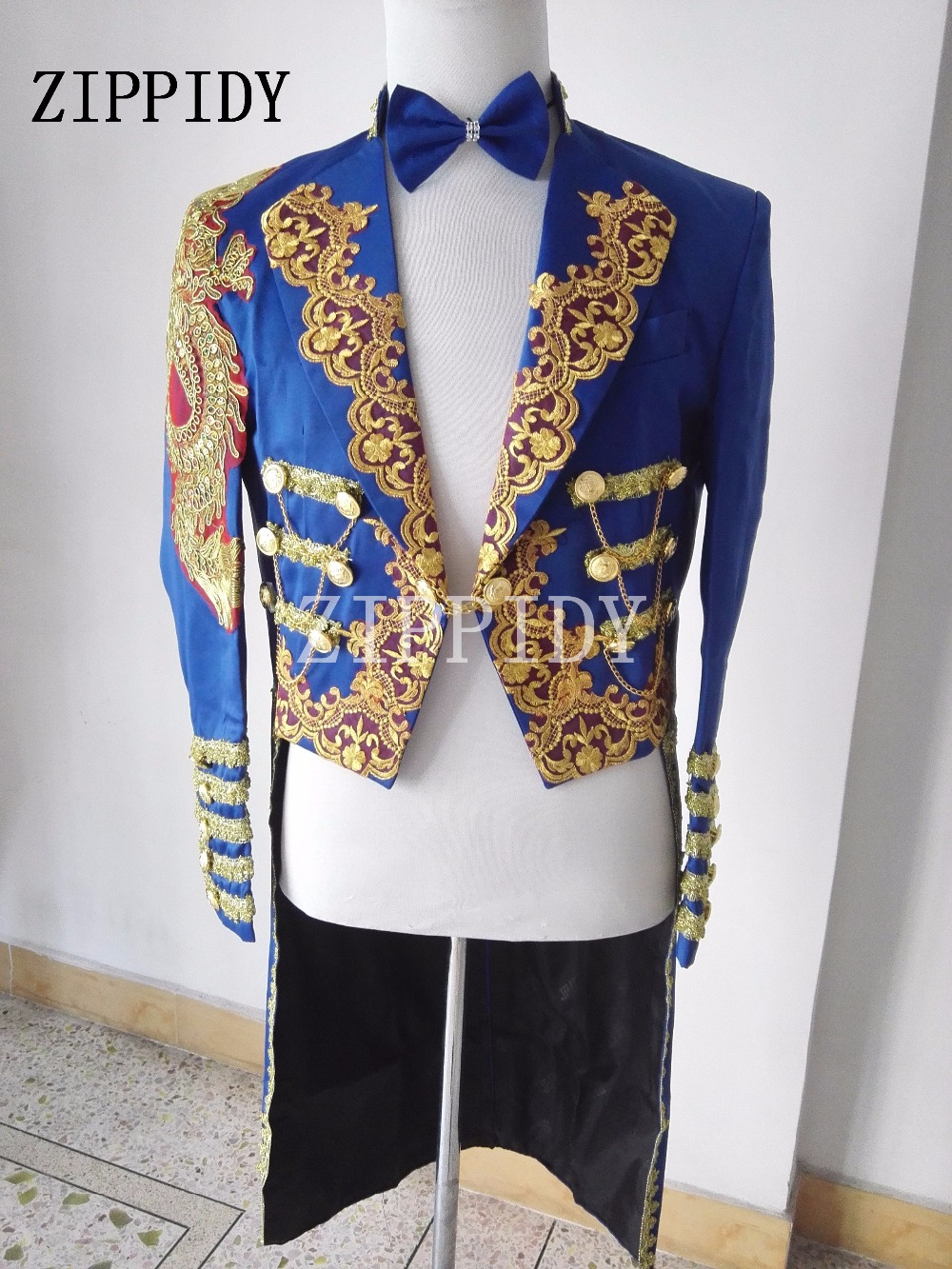 Bleu marine magique royal smoking chanteur masculin robe formelle mariage performance laciness hommes mode long style spectacle slim veste