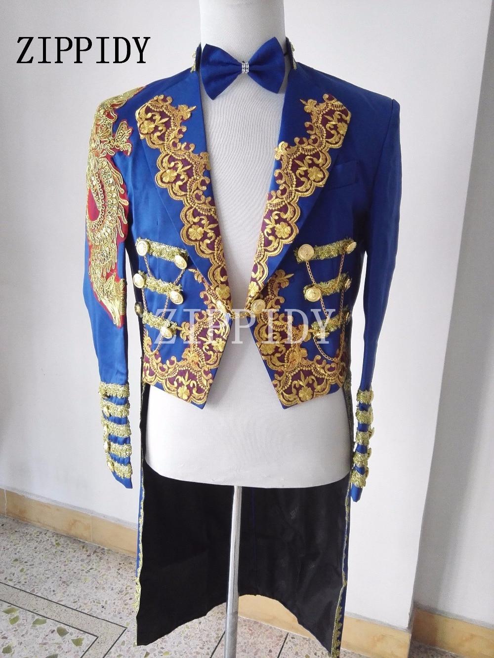 Navy Blue Magic Royal Tuxedo Male Singer  Formal Dress Marriage Performance Laciness Men Fashion Long Style Show Slim Jacket