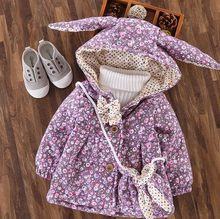 Winter Baby Girls Floral Print Cute Rabbit Ear Hooded Princess Bow Jacket Coat Kids Thick Outerwear + Bag Casaco Roupas De Bebe(China)