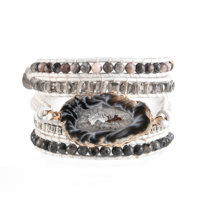 5 Layers Natural stone Leather Bracelet Exquisite Mix Stones Women Fashion Wrap Bracelet Boho Bracelet Jewelry Dropshipping(China)