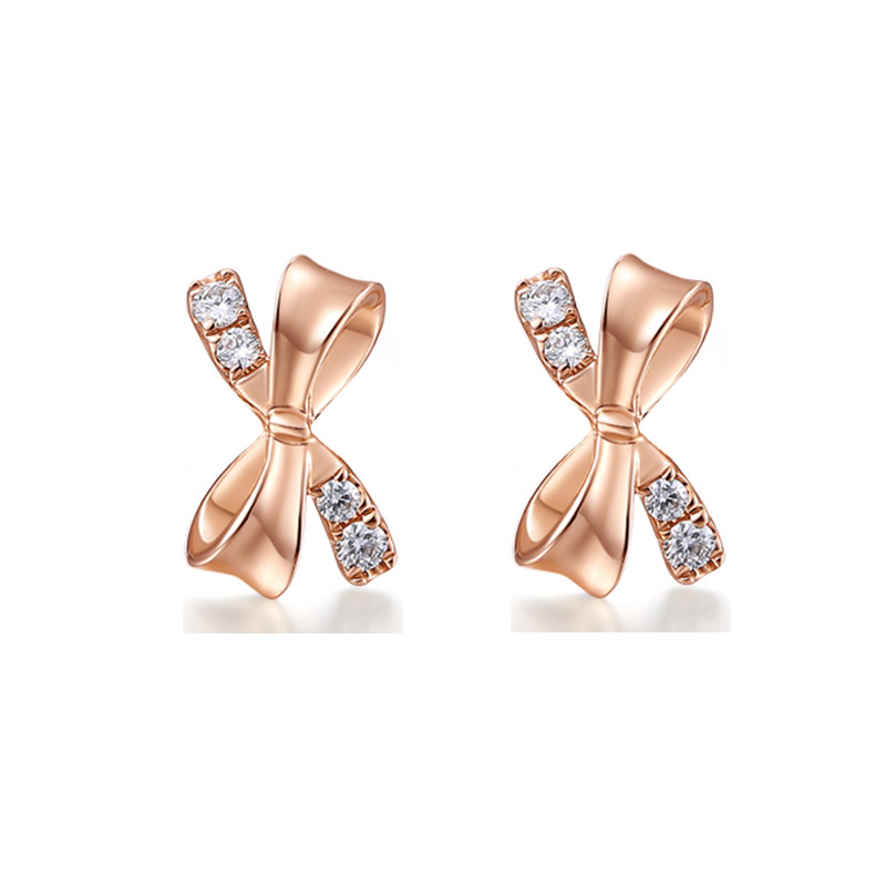 100% Natural Diamonds Earrings for Women Solid 14k Rose Gold Stud Earrings Party Fine Jewelry Gift solid 14k rose gold 100