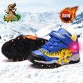 Зимние ботинки Dinoskulls для мальчиков  модные кожаные кроссовки с подсветкой и динозавром T-rex для детей  теплая флисовая детская обувь