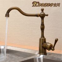 Furukawa rotation green bronze antique kitchen faucet European classical drawing full copper hot and cold American Single-Lever