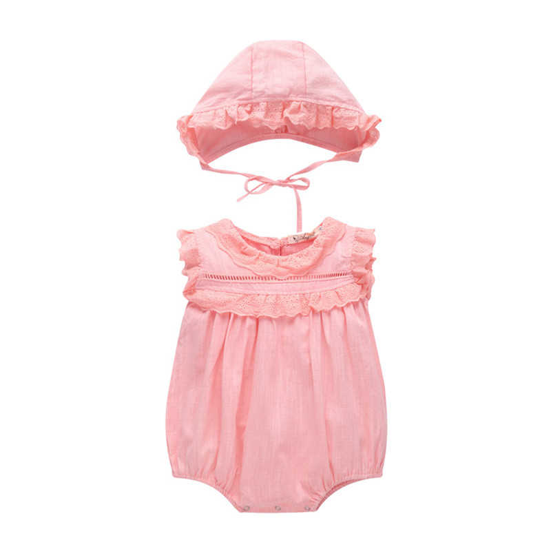 Summer 2018 pink baby bodysuit + cap princess clothing sets girl baby clothing baby girl summer clothes ,china imported clothes