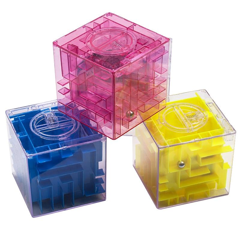 4 colors creative puzzle maze piggy bank for coins for Maze coin bank