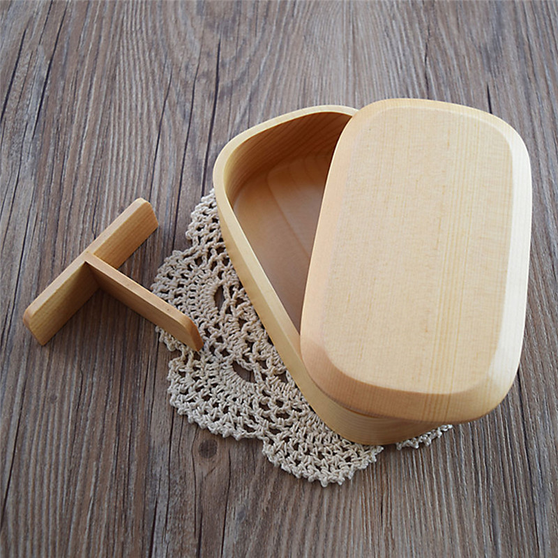 madera de hemlock sola caja del envase de alimento ecolgico natural cuenco de madera con interior