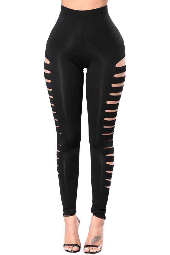 Fashionable Black Side Cut Out Legging Women Sexy Hollow Out High Waist Stretchy Long Leggings Casual Push Up Out Wear