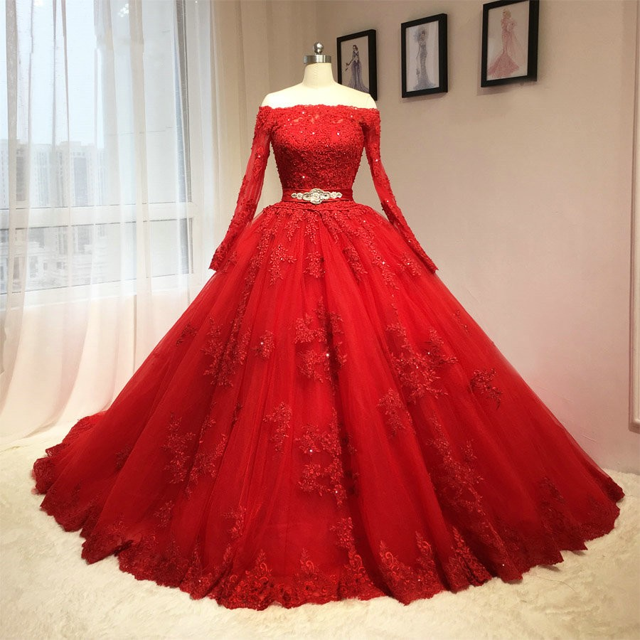 Real Sample Bride Dresses Appliques Beadings Red Prom Dress Long Sleeve Puffy Ball Gown Vestido Noiva