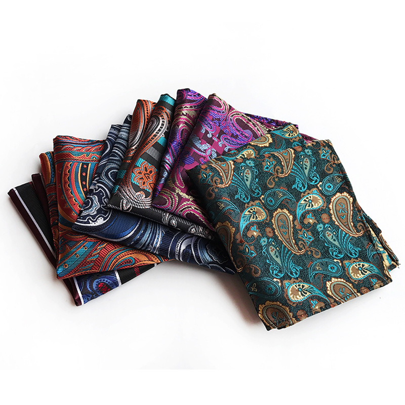 Mens Handkerchiefs Style Classic Paisley New Flower Silk Polyester Pocket Towel Hanky Formal Business Suits Chest Towel Gifts