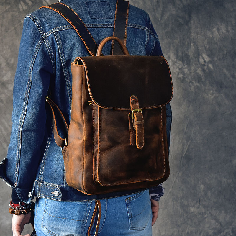 Men Backpack Genuine Leather Vintage Daypack Travel Casual S