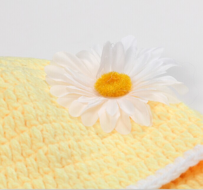 Newborn Photography Props Handmade Knit Hat Children 39 s Baby Photography Photo Clothes Hundred Days Baby Yellow flower costume in Hats amp Caps from Mother amp Kids