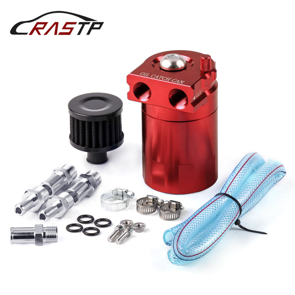 RASTP-Universal Baffled Oil Catch Can/Tank/Reservoir Tank With Breather Filter Aluminum Fuel Tanks RS-OCC009