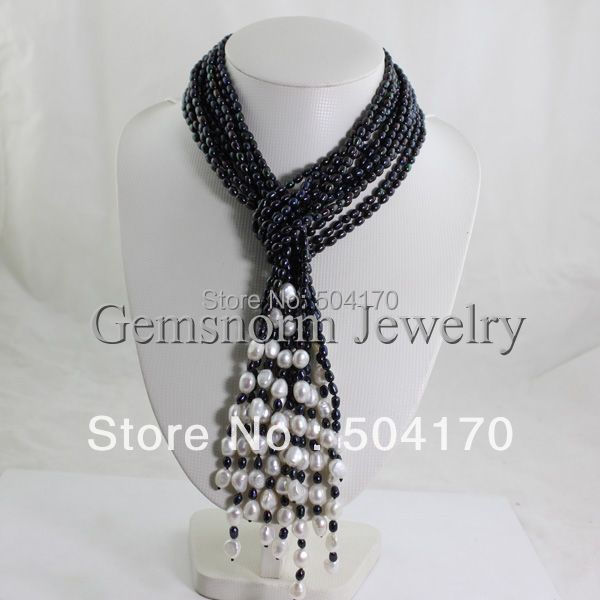 Fabulous Strands Black Pearl Necklace Handmade Rice Pearls Luxury Party Jewelry Free Shipping FP232