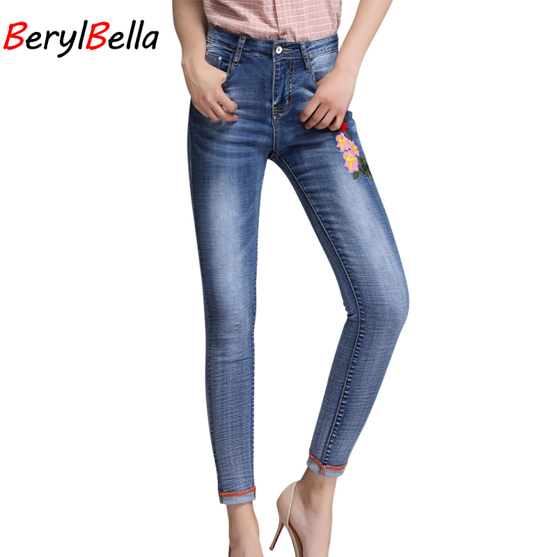 Women Jeans Pants 2017 Autumn Embroidery Elastic Blue Jeans Plus Size High Waist Long Skinny Trousers For Women 26-32 BerylBella women jeans large size high waist autumn 2017 blue elastic long skinny slim jeans trousers large size denim pants stretch female