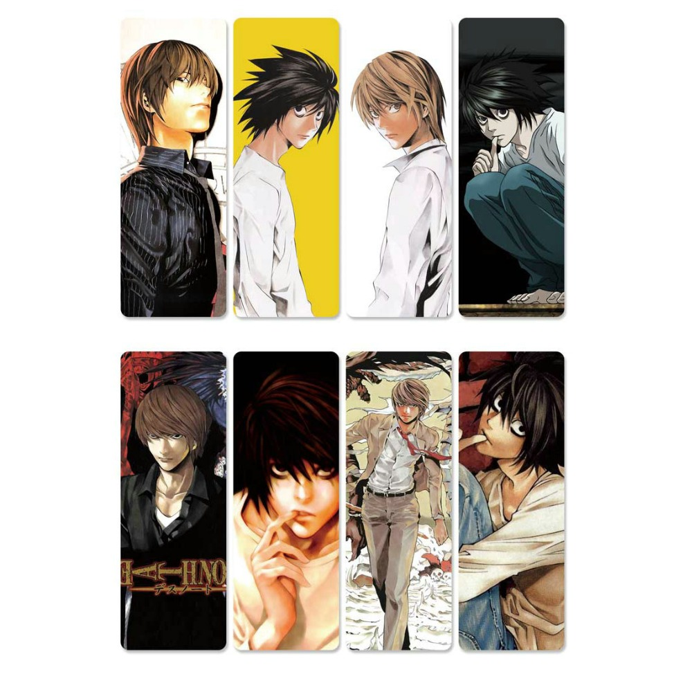 8pcs  DEATH NOTE Anime Bookmarks Waterproof Transparent PVC Plastic Bookmark Beautiful Book Marks Gift