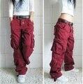 Hot, Carga calças cáqui mulheres calças de dança hiphop feminino de hip-hop calças macacão de bolso calças calças de bolso feminino