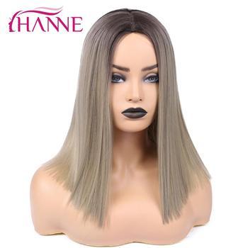 HANNE Ombre lniane brązowe blond różowe brązowe peruki syntetyczne długość ramion proste peruki damskie naturalne peruki z włókien wysokotemperaturowych tanie i dobre opinie Wysokiej Temperatury Włókna Średni 1 sztuka tylko Średnia wielkość