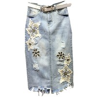 2019 summer and vintage casual novel embroidered flower denim female long skirt jeans maxi skirts for womens