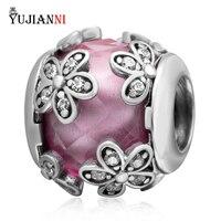 Authentique 925 Sterling Silver Fleurs Charms Avec Clear CZ Perles 6 Diffèrent Couleurs Fit Européenne Marque Bracelet & Colliers Bijoux