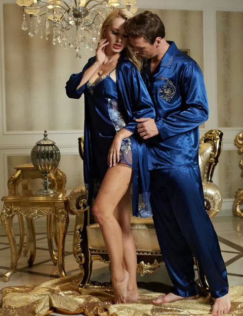 2017 New Couple Robe Sets  Twinset Vneck Full Sleeve Silk Pijama Casal Lace Embroidery Sleepwear Men Women Nightdress 3313/20243