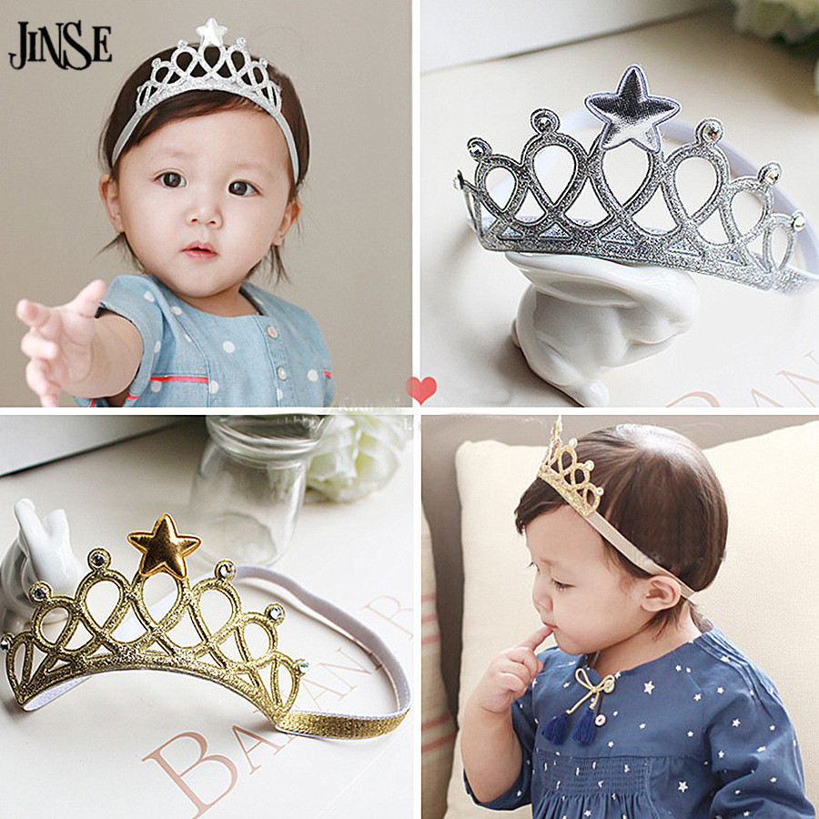JINSE Gold Silver Star Hair Accessories Toddler Newborn Kids Baby Princess Headbands Hair Band Girls Tiaras And Crowns CR117
