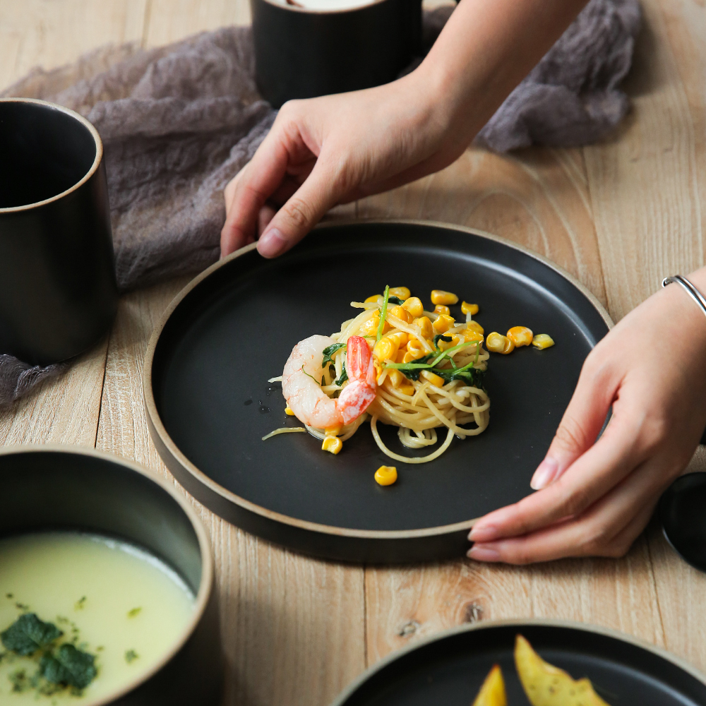 NIMITIME Ceramic Porcelain Dishes Black Grey Color Dinner Plates Noodle Bowl Dinnerware Tableware