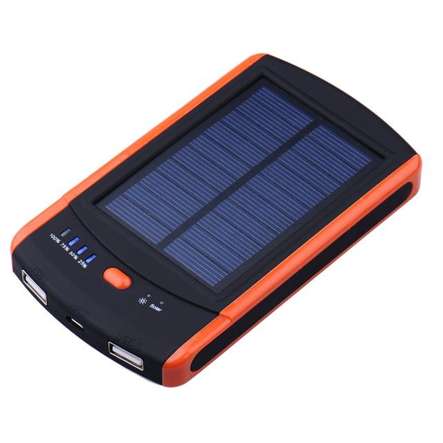 Powerboy PowerBank 8000 mAh Cargador Solar Cargadores de Batería Dual USB Powerbank Bateria externa Impermeable con LED para Smartphones