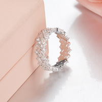 ZOZIRI brand real 925 sterling silver cute mini circle rings for elegant women full cubic zirconia rings birthday party jewelry