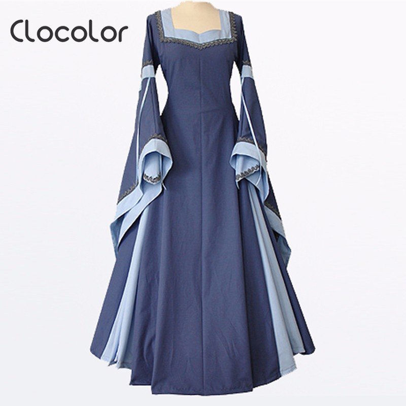 0c4ee59580fca Clocolor medieval dress light blue vintage style gothic dress floor length  women cosplay dresses retro long medieval dress gown-in Dresses from ...