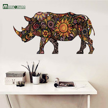 Maruoxuan Colorful Flower Pattern Rhino Vinyl Wall Stickers - Animals Wall Sticker For Kids Rooms Animal Home Decorations