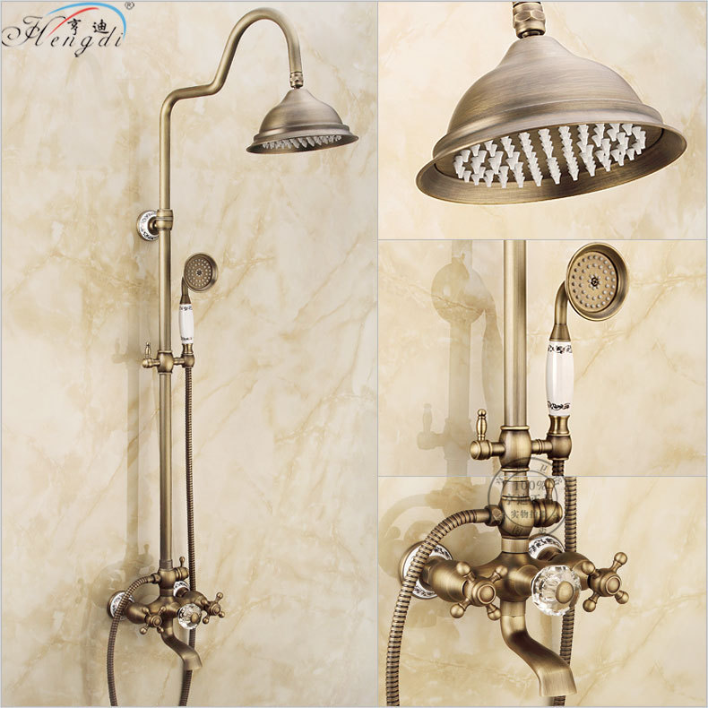 Bathroom Retro antique copper Brass Bathtub Shower Set Wall Mounted 8 Rainfall Shower Mixer Tap Faucet 3 functions Mixer Valve