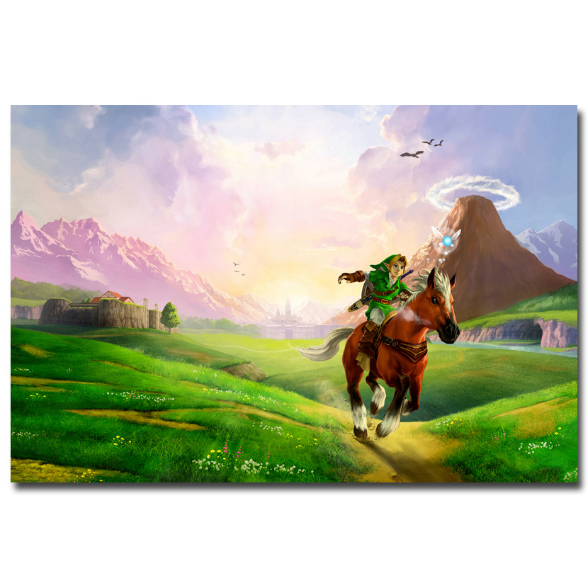 The Legend of Zelda Ocarina of Time Art Silk Poster di Stoffa 13x20 24x36 pollice Gioco Caldo poster Immagini per Soggiorno Decorazione Della Parete 034