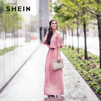 SHEIN Pink Long Dresses Off The Shoulder Autumn Dresses Women Elegant Ladies Half Sleeve Layered Ruffle