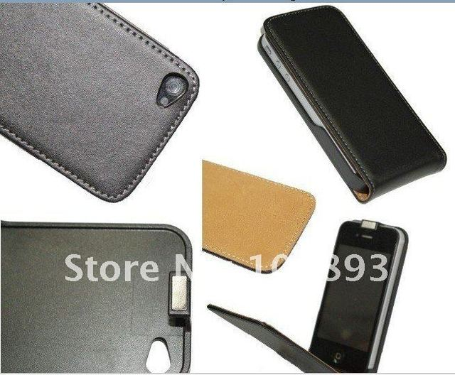 Wholesale  Real  PU Leather Case for iphone4 4g 4gs  , Free Shipping