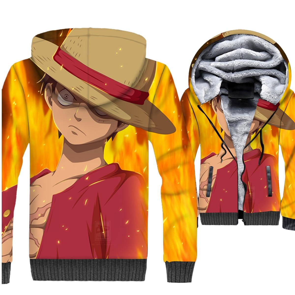 Inverno streetwear Naruto felpa 3D Stampato Anime di un pezzo giacche pantaloni a vita bassa con cappuccio 2018 degli uomini di addensare swag marca cappotti felpe con cappuccio