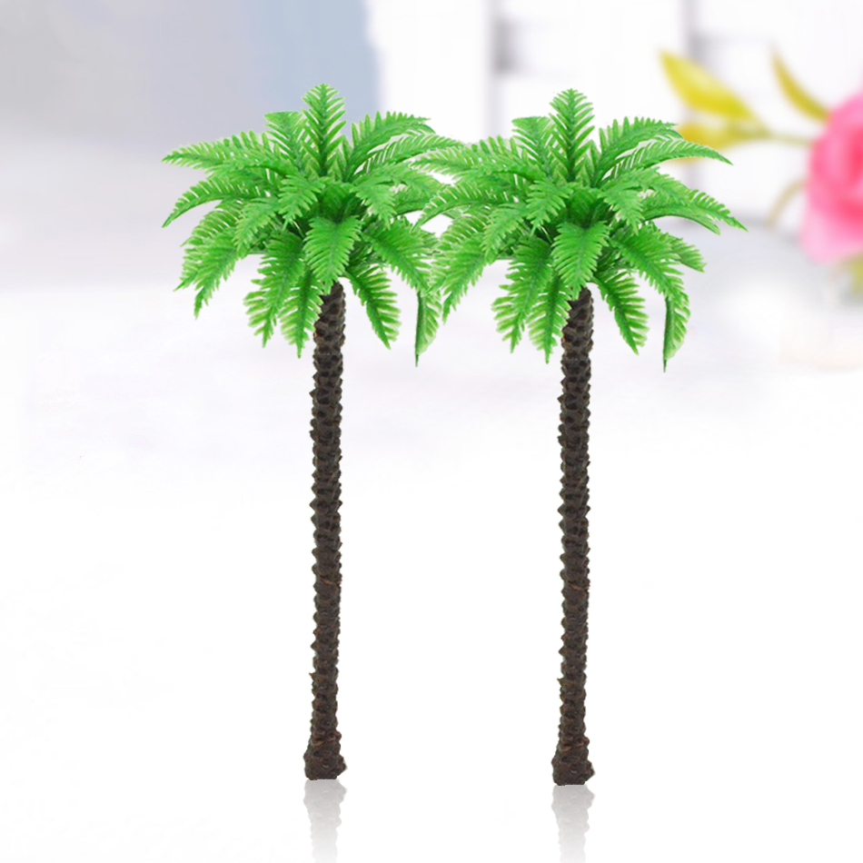 200pcs scale palm trees 12cm Cocos nucifera ABS plastic model palm trees for scenery train layout