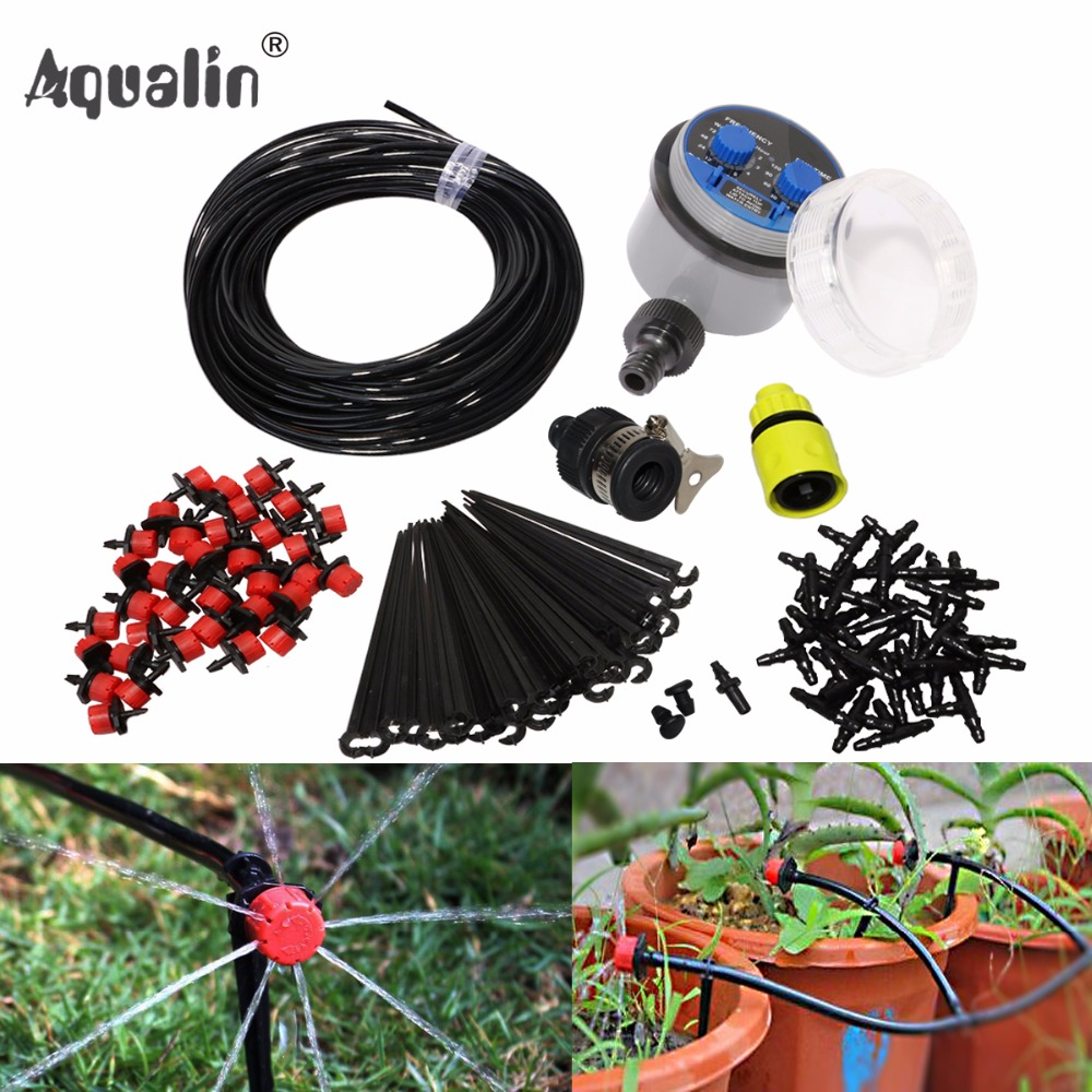 25m Garden DIY Automatic Watering Micro Drip Irrigation System Garden Self Watering Kits with Adjustable Dripper #21025I