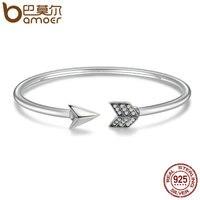 BAMOER Genuine 925 Sterling Silver Cupid S Arrow Cuff Bracelets Bangle For Women Luxury Authentic Silver