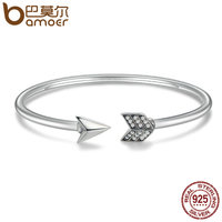 BAMOER Genuine 925 Sterling Silver Cupid S Arrow Cuff Bracelets Bangle For Women Luxury Authentic Silver