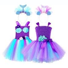 Księżniczka Ariel syrenka rysunek kwiat Tutu sukienka dziecięcy kostium na halloween mała syrenka Ariel Cosplay sukienka z cekinami z pałąkiem na głowę