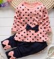 Baby Girl Clothing Set Heart-shaped Print Bow Cute 2PCS Cloth Set Children Cloth Suit Top T shirt + Pants