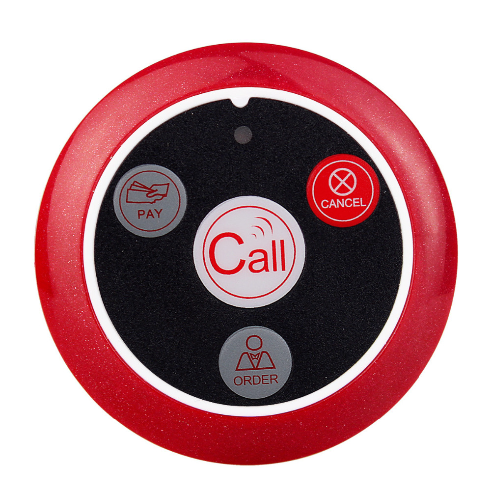 TIVDIO Wireless Pager Button Calling Bell Call Button Transmitter for Calling System Restaurant Equipment F3285C