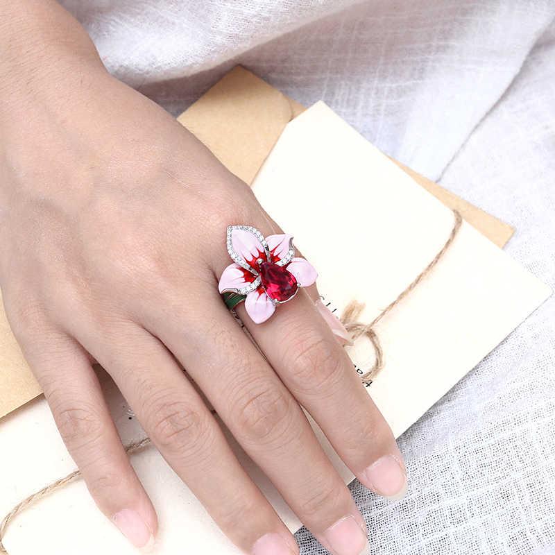 Pink Enamel Flower Jewelry Set Women Stub Earrings Pendant Ring Set Copper Orchid Jewelry Bohemia Wedding Earring Ring Pendant