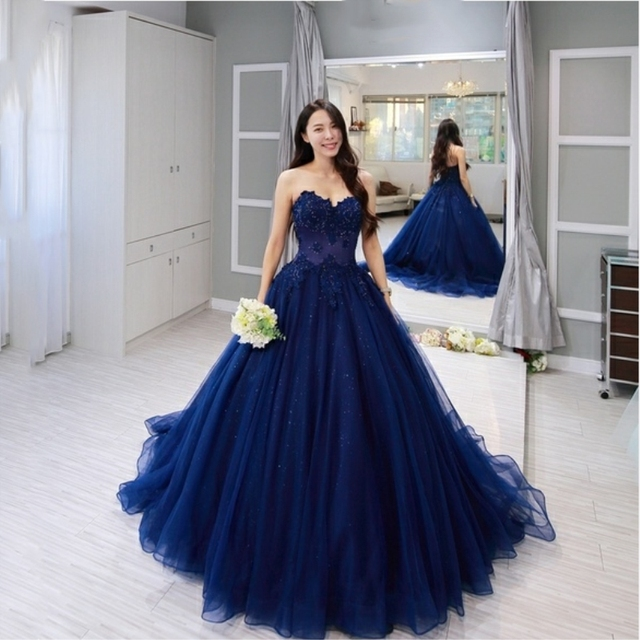 Vintage blue Lace Sleeveless Ball Gown Prom Dresses 2019 Applique Beading Sweetheart Neckline Custom Made Evening Dress 1