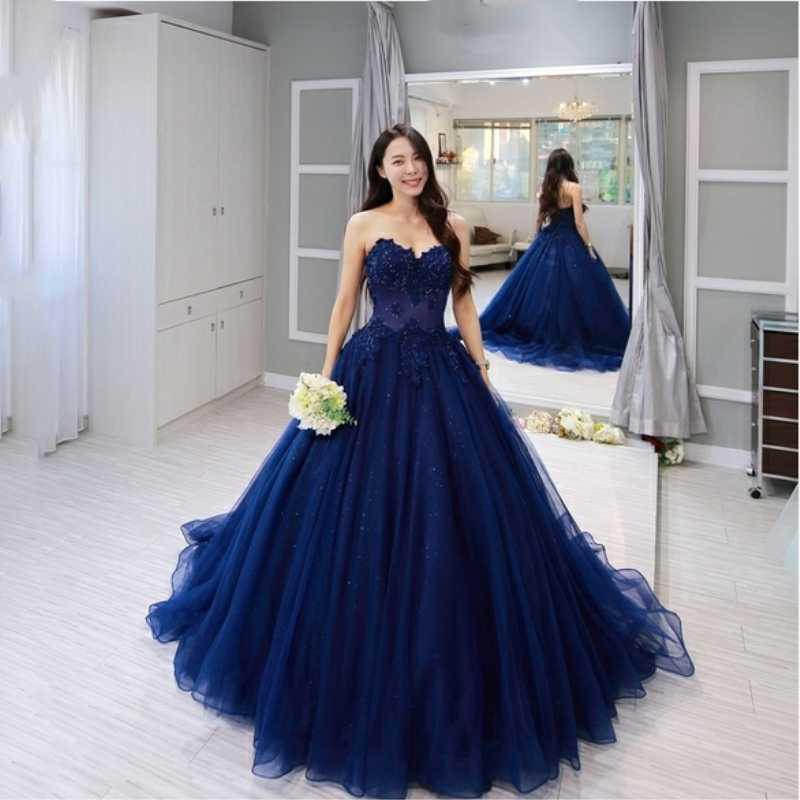 Винтаж синее кружевное платье без рукавов, платья для выпускного вечера 2019 аппликация Бисер вырез в форме сердца индивидуальный заказ вечернее платье