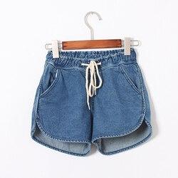 Nice Summer Boyfriend Jeans Women Denim Shorts Female Mid Waist Causal Elastic Waist Drawstring Loose Solid Ladies Jeans Shorts